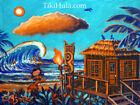 Beach Hut Surf Spot Blue Hula Tiki Surfing Hawaiian Painting CBjork Art PRINT