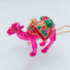 Fashion Jewelry Crystal Enamel Lovely Camel Pendant Chain Sweater Necklace
