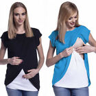 Внешний вид - US Women Maternity Breastfeeding Tops Nursing T-shirt Double Layer Pregnant Care