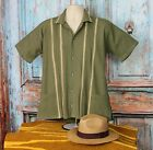 Внешний вид - Classic Olive Green Men's Guayabera Latin American Shirt, made in Oaxaca Mexico