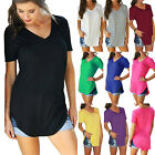Womens Short Sleeve V Neck Tunic Tops Blouses Loose Basic Tee Casual T-Shirts