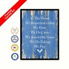 In This House We Respect Each Other Framed Canvas Blue Quote Office Wall Print