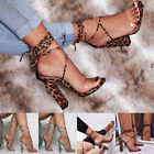2019 Womens Block High Heel Lace Up Sandals Ankle Strap Pumps Casual Shoes Size