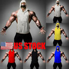 US Men Muscle Pocket Hooded Hoodie Sleeveless GYM Slim Fit Casual Tee Shirt Top image