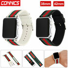 Sport Nylon Stripe & Leather Wrist Band Strap for Apple Watch Series 1/2/3/4 image