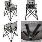 Portable High Chair Travel Fold Up High Chair Tray Grey Check