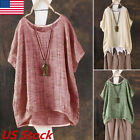 US Womens Plus Size Casual Loose Linen Shirt Blouse Tops Pullover Dress Clothing