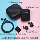 Soft Rubber Case Cover with Strap & Ear Hooks Holder For Apple Airpods Air Pods