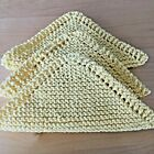 NEW Set of 3 -Hand Knit - DISHCLOTHS /WASHCLOTHS 100% Cotton with Directions FS