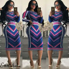 Sexy Women's Long Sleeve Printed Bodycon Cocktail Party Clubwear Slim Dress