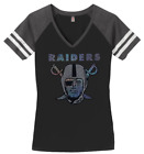 Womens Oakland Raiders Football Ladies Bling V neck Shirt Size S 3XL