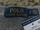 Polo RALPH LAUREN Men's Small Heathered Gray Grey Waffle Knit Long Sleeve Shirt