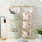 Cartoon Print Wall Hanging Storage Bags Cotton Linen Sundry Home Organizer Pouch