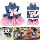 New Small Dog Cat Floral Dress Girl Satin Layered Party Wedding Pet Dog Clothes