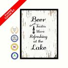 Beer Always Tastes More Refreshing At The Lake Canvas White Gift Wall Art Print