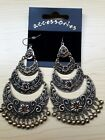 BNWT Silver or Gold Tone Metal/Bead Crescent Design Chandelier Earrings 10.5 cm