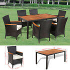 13pcs Patio Furniture Set Dining Brown Rattan Table Chairs Cushions Garden New