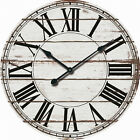 Oversized Wall Clock Analog Farmhouse Rustic White Wood Large Round Home Decor