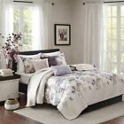 Luxury 6pc Purple Taupe & Ivory Floral Coverlet Quilt Set AND Decorative Pillows