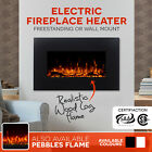 90cm Free Standing Wall Mounted Electric Fireplace Wood Heater Flame Log Flame