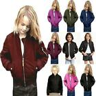 Girls Boys Kids Quilted Plain MA1 Front Pockets Button Bomber Zipped Up Jacket