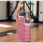 July 4th American Flag Mother Daughter Dress Matching Maxi Dress Family Clothes
