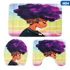 3Pcs Modern African Girl Pattern Toilet Mat Rug Toilet Seat Cover Bathroom Set