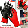 More images of Pairs 100% Latex Coated RED BLACK Nylon Work Gloves CONSTRUCTION INDUSTRIAL