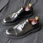 Men's Formal Low Top Chunky Round Toe Lace Up Business Leather Shoes Haihk