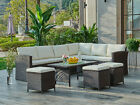 Rattan Corner Garden Furniture Set Black Brown Grey Dining or Coffee Table