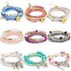 Boho Multilayer Natural Stone Crystal Beded Bracelet Women Fashion Jewelry Gift