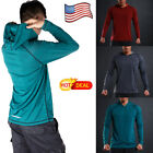US POPULAR Men Long Sleeve Shirts Hooded Muscle Tops Casual Hoodie Basic T-shirt image