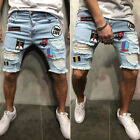 Men Ripped Jeans Skinny Shorts Jeans Destroyed Frayed Denim Pant Biker Jeans US