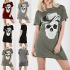 Ladies Womens Skull Hat Gold Silver Foil Batwing Sleeve Long T Shirt Dress Top