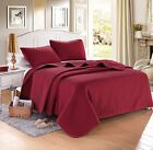 Burgundy Red Solid Color Hypoallergenic Quilt Coverlet Bedspread Twin Queen King image