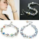 Women Fashion Clear Crystal Ab Beaded Elastic Bracelet Bangle Elegant Gift New