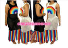 Women Beach Style Holiday Hollow Weave Patchwork Rainbow Tassel Sun Dress #B