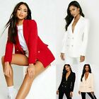 Womens Ladies Double Breasted Military Gold Button Collared Duster Jacket Blazer