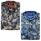 Mens Floral Retro Blue Gold Paisley Printed Silk Feel Party Shirt Italian Style