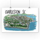 Charleston, South Carolina - Line Drawing (Art Posters, Wood & Metal Signs)
