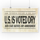 Prohibition Newspaper Cover - Voted Dry (Art Posters, Wood & Metal Signs, Totes)