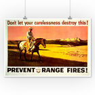 Smokey Bear - Prevent Range Fires - Vintage Poster (Posters, Wood & Metal Signs)