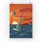 Windsurfers and Sunset (Art Posters, Wood & Metal Signs, Canvas, Tote Bag)