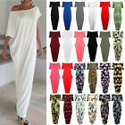 Women Ladies Italian Drape Off The Shoulder Bardot Lagenlook Oversize Maxi Dress