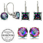 3.5 Carat Mystic Topaz Leverback Earrings in 18K White Gold Filled ITALY image