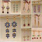 Trendy Gold Topaz Zircon Stone Women Jewelry Gift Dangle Drop Earrings Journey image