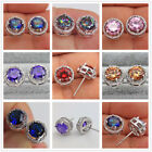 18K White Gold Filled- Round MYSTICAL Pink Topaz Amethyst Ruby Earrings 7 Color image