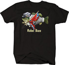 Rebel Bass Military Fishing Hunting Big Bass Flag Merica Freedom T-shirt  S-5XL