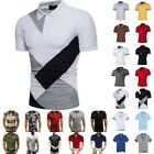 Mens Polo Shirts Summer Short Sleeve Slim Fit T-Shirt Golf Sport Casual Tee Tops image