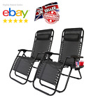 Reclining Zero Gravity Chair Sun Bed Loungers Folding Outdoor Garden Black